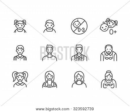 People Age Flat Line Icons Set. Growth Stage - Baby Boy, Teenage Girl, Young Woman, Old Man Vector I