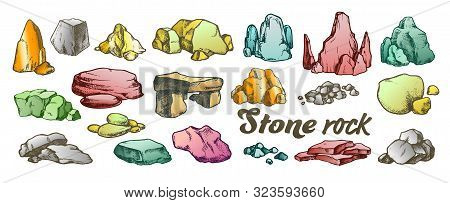 Stone Rock Gravel Collection Color Set Vector. Different Stone, Gravel And Pebble. Natural Rocky Sla