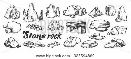 Stone Rock Gravel Collection Monochrome Set Vector. Different Stone, Gravel And Pebble. Natural Rock