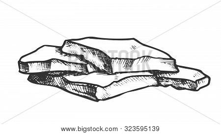 Stone Flat Or Stacked Fieldstone Monochrome Vector. Solid Strong Stone Crag Element For Building Fen