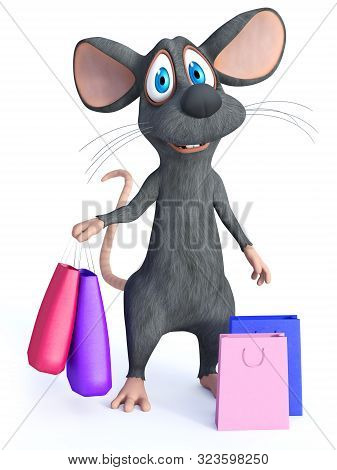 3d Rendering Of A Cute Smiling Cartoon Mouse Standing And Holding Two Shopping Bags In His Hand. Two