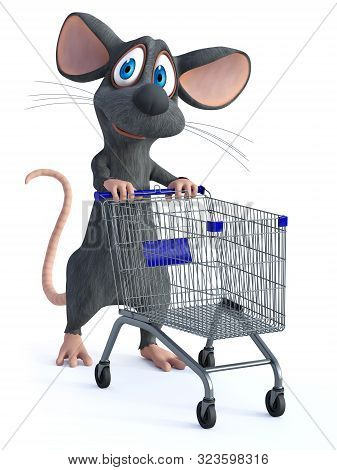 3d Rendering Of A Cute Smiling Cartoon Mouse Walking With An Empty Shopping Cart, Ready To Shop. Whi