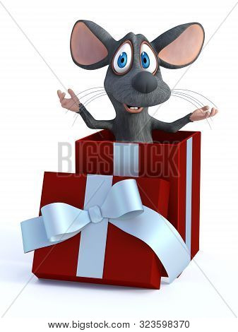 3d Rendering Of A Cute Smiling Cartoon Mouse Popping Out Of A Red Gift Box Ready To Surprise. White