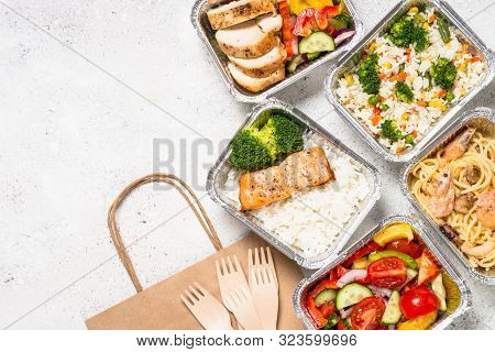 Food Delivery. Different Containers With Healthy Diet Natural Food. Top View On White Background.