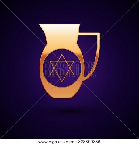 Gold Decanter With Star Of David Icon Isolated On Dark Blue Background. Pottery Jug. Organic Product