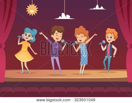 Kids Stage. Children Performance Karaoke Sing Boys And Girls Vector Backgrounds. Illustration Karaok