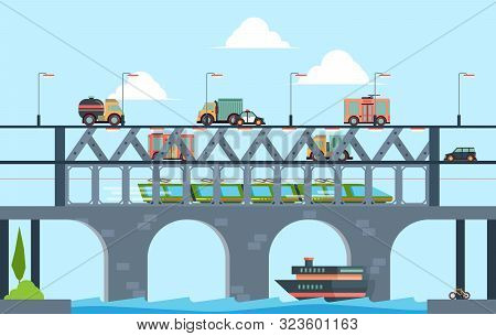 Landscape With Bridge. Speed Truck Highway Bridge With Cars Vector Cartoon Background Illustration.