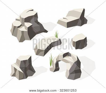 Rocks Isometric. Gray Stones For Wall Construction Block Granite Mineral Vector Rocks Surface. Illus