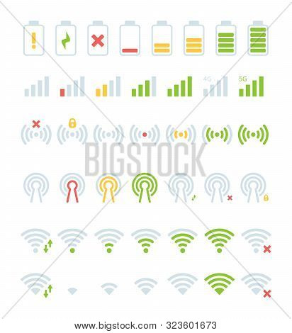Mobile Status Bar Icon. Gsm Battery Levels Wifi Connection 5g Colored Vector User Interface Symbols