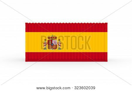 3d Illustration Of Cargo Container With Spain Flag On White Background With Shadows. Delivery, Trans