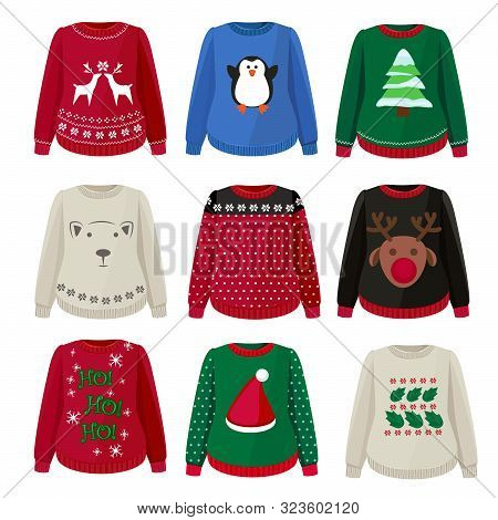 Ugly Sweaters. Funny Christmas Clothes Jumper With Decoration Cute Snowflakes Vector Sweaters Collec