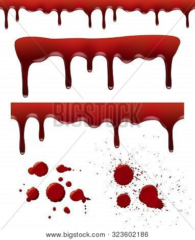 Blood Splashes. Red Dribble Drops Bloodstain Splash Liquid Elements Brush Textures Vector Realistic