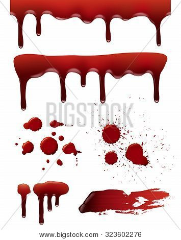 Blood Drops. Horror Death Symbols Bloody Splashes Liquid Splatter Vector Realistic Collection. Illus