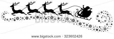 Black Christmas Sleigh Santa And Four Flying Reindeers Snowflakes Below