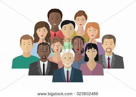 Group Of Caucasian, African-american And Asian People. Multiethnic Society. Vector Illustration.