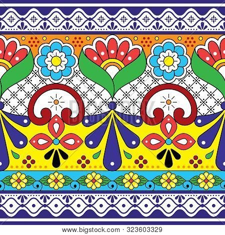 Mexican Talavera pottery vector seamless pattern, repetitive background inspired by traditional ceramics design from Mexico poster