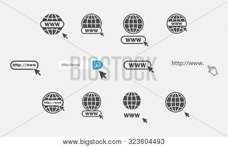 Www Icons Collection. Web Site Icons. Www Icons With Hand Cursor In Flat Design. Www Vector Icons