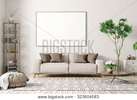 Modern Interior Of Apartment, Living Room With Beige Sofa, Coffee Table, Rug And Big Mock Up Poster