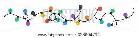 Christmas Lights Bulbs. Colorful Christmas Lights Bulbs Isolated On White Background. Color Garlands