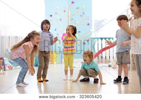 Leisure Of Preschool Children. Acting And Developing Games For Kids In Kindergarten Or Daycare