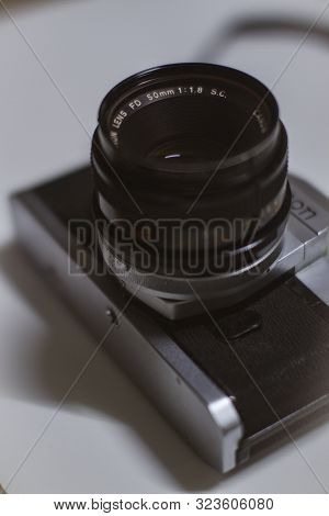 Bandung, West Java / Indonesia - 09/23/2019: Old Vintage Canon Slr Camera, Vintage Canon Ftb Ql 35mm