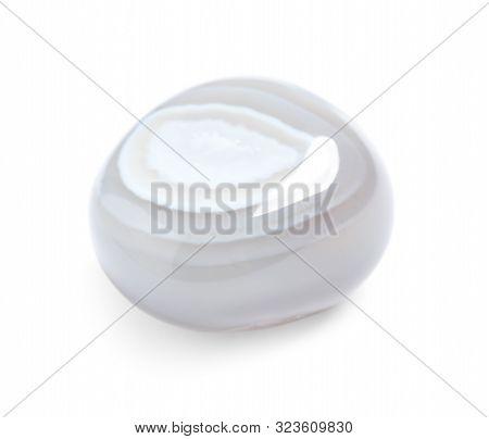 Beautiful Grey Agate Gemstone On White Background