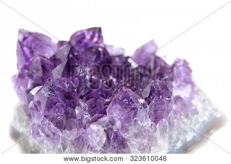 Beautiful Purple Amethyst Gemstone On White Background, Closeup