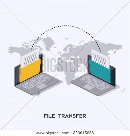 Transfer Files. Laptops With Folders On Screen And Transferred Documents. Isometrics.