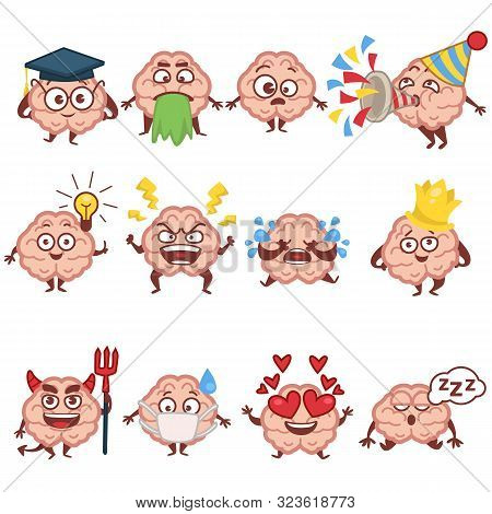Emoji Of Human Brain, Faces And Emotions, Brainy Character Isolated Icons