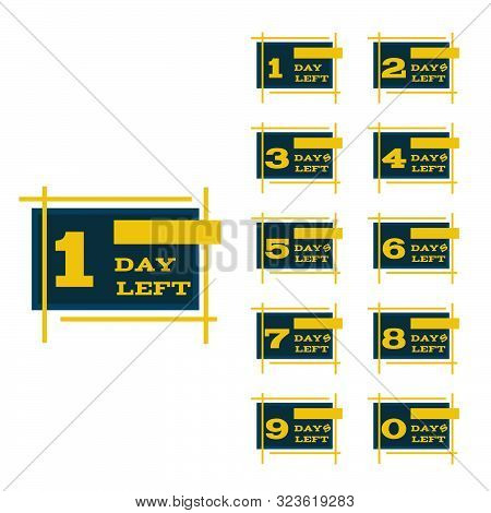 Days Left To Go Blue  Yellow Design Banners Collection Set Eps 10