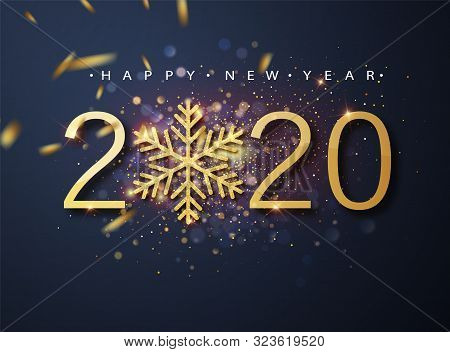 Happy New 2020 Year. Holiday Vector Illustration Of Golden Metallic Numbers 2020 And Sparkling Glitt