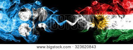 Opec Vs Kurdistan, Kurdish Abstract Smoky Mystic Flags Placed Side By Side. Thick Colored Silky Smok