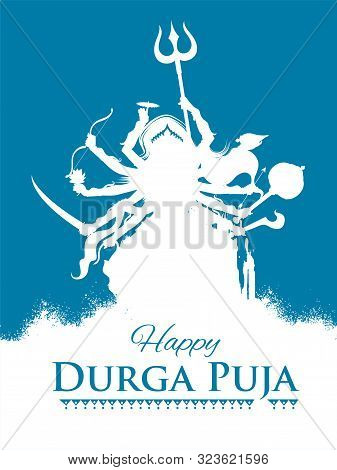 Illustration Of Goddess Durga In Happy Durga Puja Subh Navratri Indian Religious Header Banner Backg