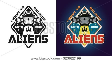 Invaders Attack Vector Emblem, Badge, Label, Logo Or T-shirt Print In Two Styles Monochrome And Colo