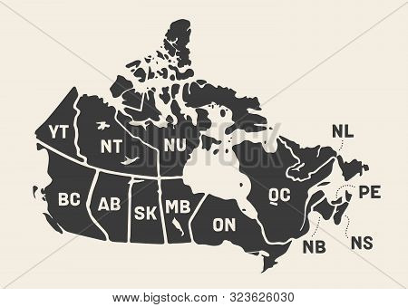 Map Canada. Poster Map Of Provinces And Territories Of Canada