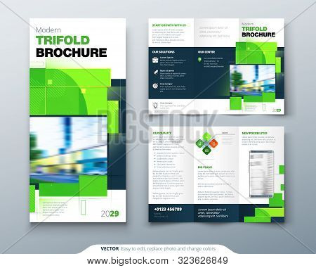 Green Tri Fold Brochure Design With Square Shapes. Corporate Business Template For Tri Fold Flyer. C