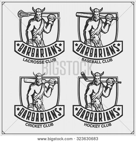 Cricket, Baseball, Lacrosse And Hockey Logos And Labels. Sport Club Emblems With Barbarian. Print De