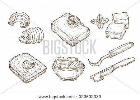 Sketch Butter. Closeup Cutting Margarine Block, Fresh Bread And Knife. Vintage Hand Drawn Culinary C