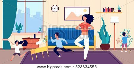 Calm Mom And Kids. Mother Meditates Among Running Naughty, Mischievous Children Creating Chaos In Ho