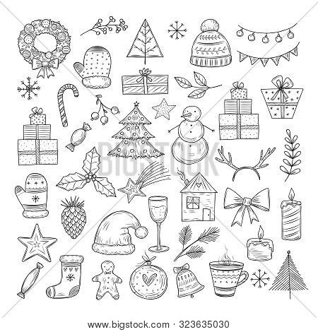 Christmas Doodle Set. Sketch Christmas Wreath, Fir-tree And Snowman, Candles. Candies, Santa Hat And