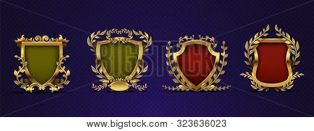 Heraldic Elements. Shield, Laurel Wreath. Royal Heraldic Vector Emblems In Victorian Style. Medieval