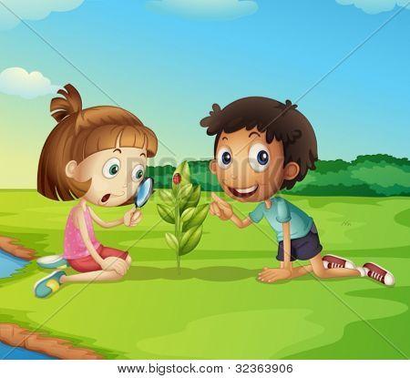 Illustration of 2 kids exploring nature