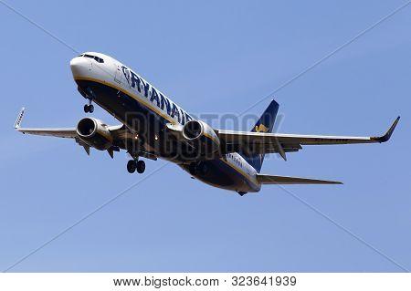 Borispol, Ukraine - September 08, 2019: Ei-ebn Ryanair Boeing 737-8as(wl) Aircraft On The Blue Sky B