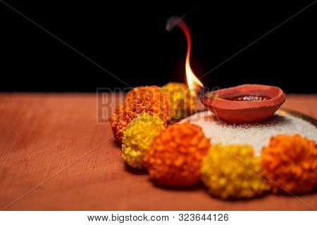 Diwali Diya, Oil Lamp Beautifully Decorated On The Festive Occasion Of Deepavali, Deepawali. Beautif