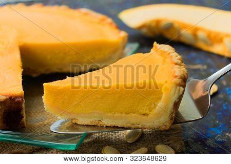 A Piece Of Pumpkin Pie. Thanksgiving Pie. Traditional Autumn Pie.
