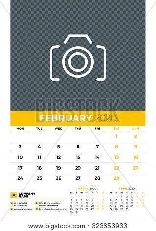 Wall Calendar Planner Template For February 2020. Week Starts On Monday. Typographic Design Template