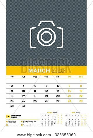 Wall Calendar Planner Template For March 2020. Week Starts On Monday. Typographic Design Template. Y