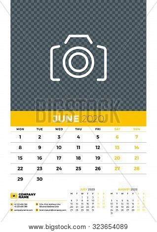 Wall Calendar Planner Template For June 2020. Week Starts On Monday. Typographic Design Template. Ye