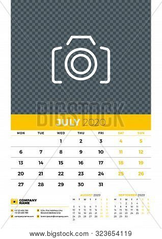 Wall Calendar Planner Template For July 2020. Week Starts On Monday. Typographic Design Template. Ye