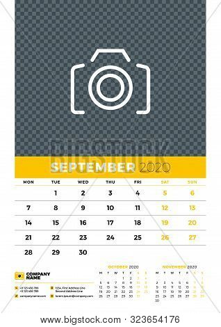 Wall Calendar Planner Template For September 2020. Week Starts On Monday. Typographic Design Templat